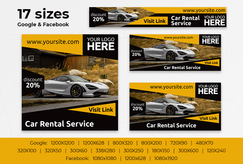 Car Rental Services – Free PSD Ads Templates for Google and Facebook ad preview