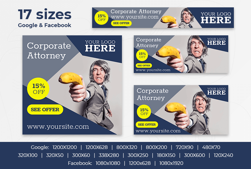 Corporate Attorney – Free PSD Ads Templates for Google and Facebook ad preview