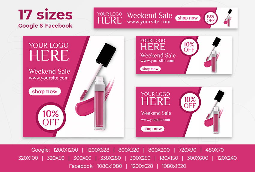 Cosmetics Sale – Free PSD Ads Templates for Google and Facebook ad preview