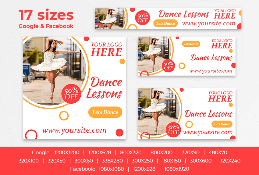 Dance Lessons – Free PSD Ads Templates for Google and Facebook ad preview