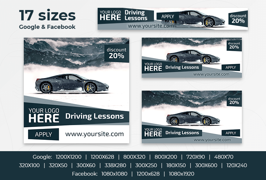 Driving Lessons – Free PSD Ads Templates for Google and Facebook ad preview