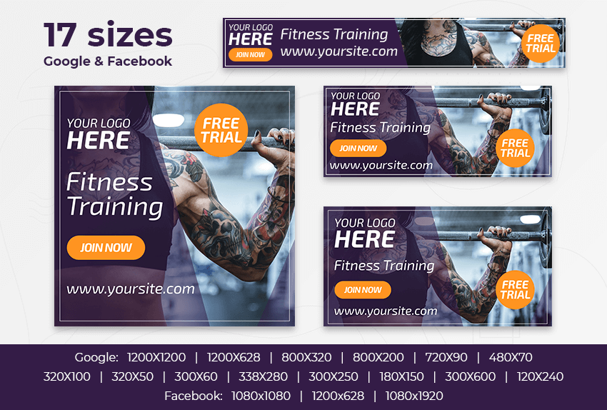 Fitness Training – Free PSD Ads Templates for Google and Facebook ad preview