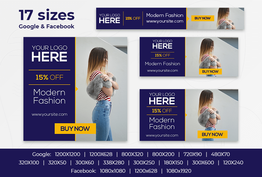 Modern Fashion – Free PSD Ads Templates for Google and Facebook ad preview