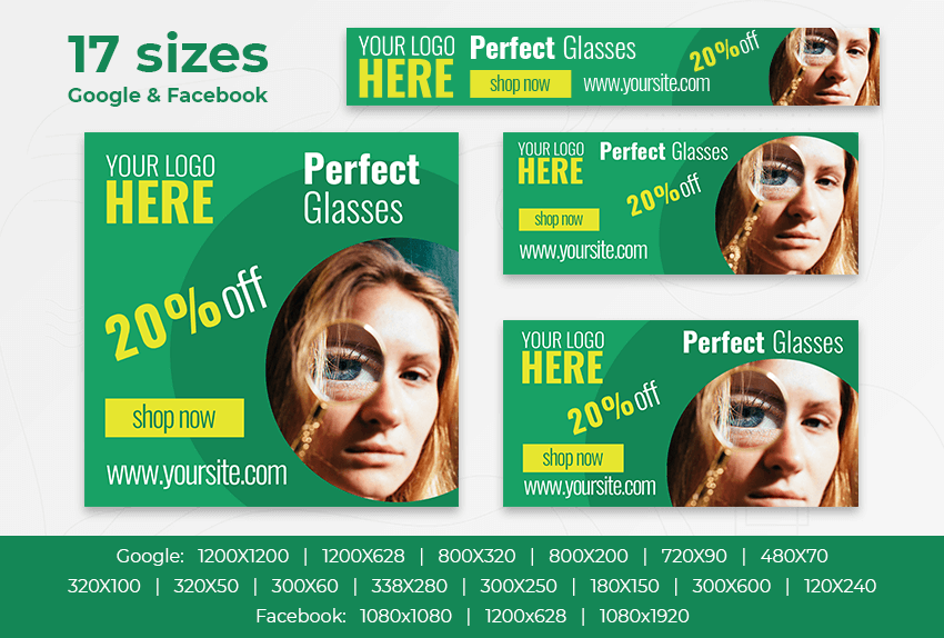 Perfect Glasses – Free PSD Ads Templates for Google and Facebook ad preview
